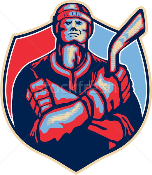 Ice Hockey Player Front With Stick Retro Stock photo © patrimonio
