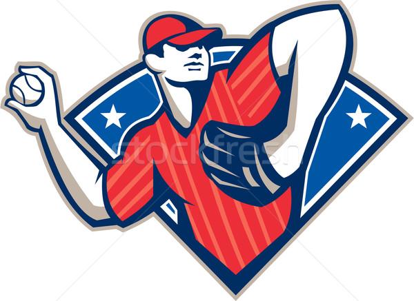 Baseball Pitcher Throwing Ball Retro Stock photo © patrimonio