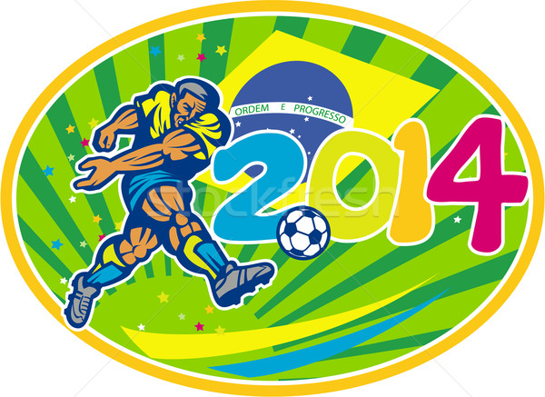 Stock photo: Brazil 2014 Soccer Football Player Kicking Ball