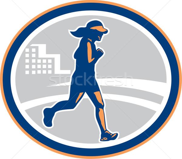 Stock photo: Female Marathon Runner City Retro