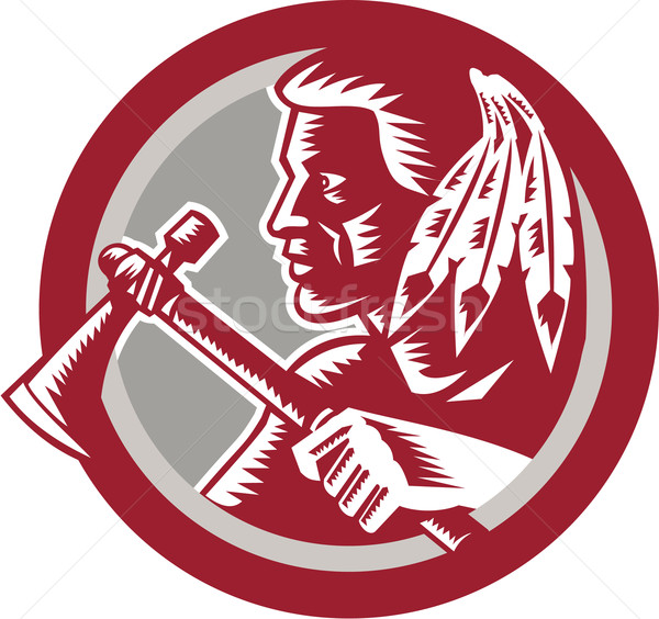 Native American Tomahawk Warrior Circle Stock photo © patrimonio