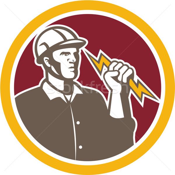 Electrician Wielding Lightning Bolt Circle Retro Stock photo © patrimonio
