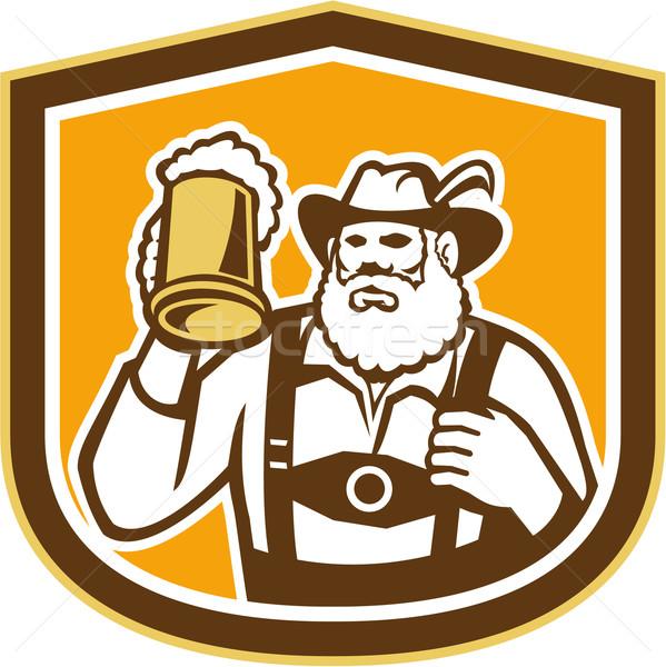 Bavarian Beer Drinker Mug Shield Retro Stock photo © patrimonio