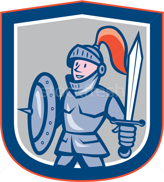 Knight щит меч Cartoon иллюстрация полный Сток-фото © patrimonio