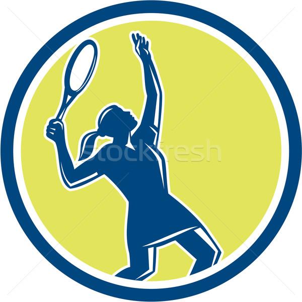 Tennis Player Female Racquet Circle Retro Stock photo © patrimonio