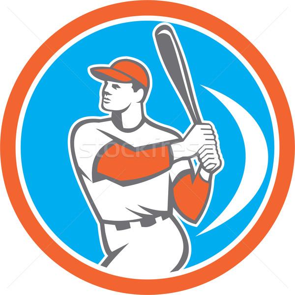 Baseball Batter Hitter Bat Circle Retro Stock photo © patrimonio