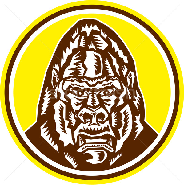 Angry Gorilla Head Circle Woodcut Retro Stock photo © patrimonio
