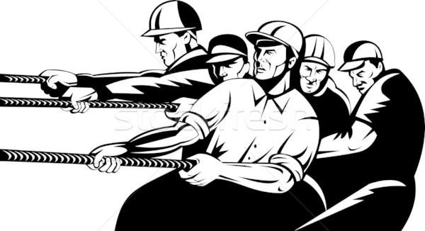 Team workers pull rope Stock photo © patrimonio