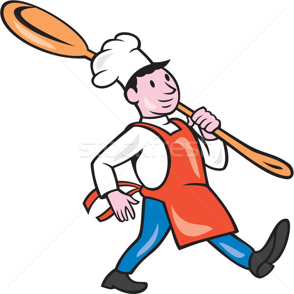 Chef Cook Marching Spoon Cartoon Stock photo © patrimonio