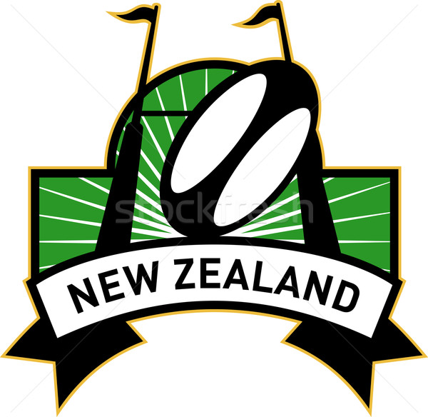 Rugby Ziel post Ball New Zealand Retro-Stil Stock foto © patrimonio