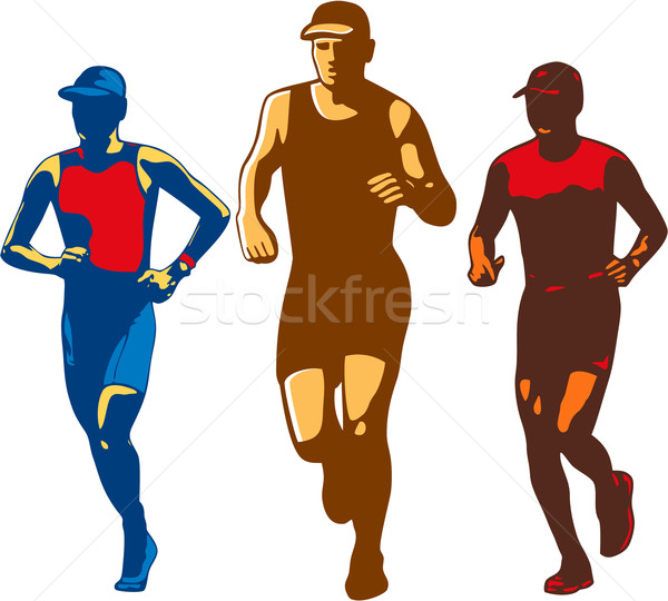 Stock photo: Triathlete Marathon Front Collection Retro