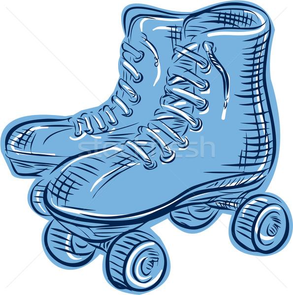 Roller Skates Vintage Etching Stock photo © patrimonio