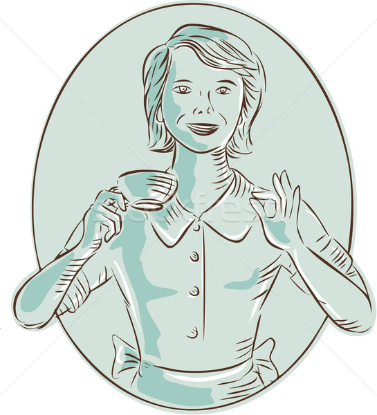 Housewife Drinking Cup of Coffee Etching Stock photo © patrimonio
