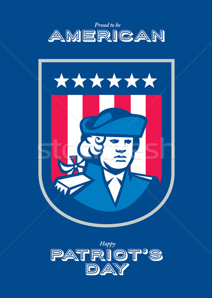 Patriots Day Greeting Card American Patriot Bust Shield Stock photo © patrimonio
