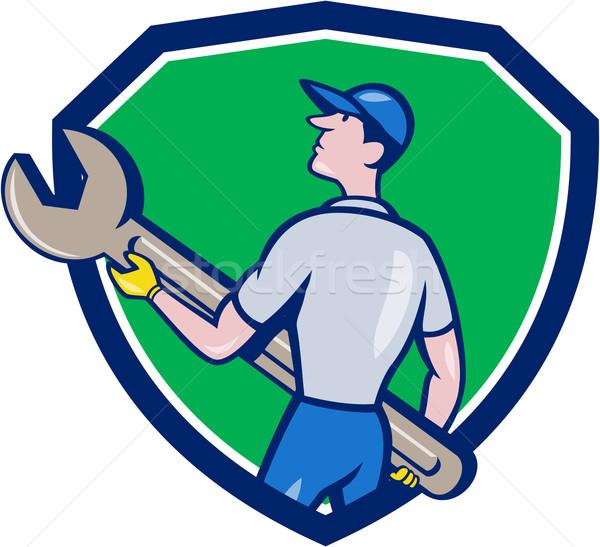Szerelő hordoz óriás csavarkulcs címer rajz Stock fotó © patrimonio