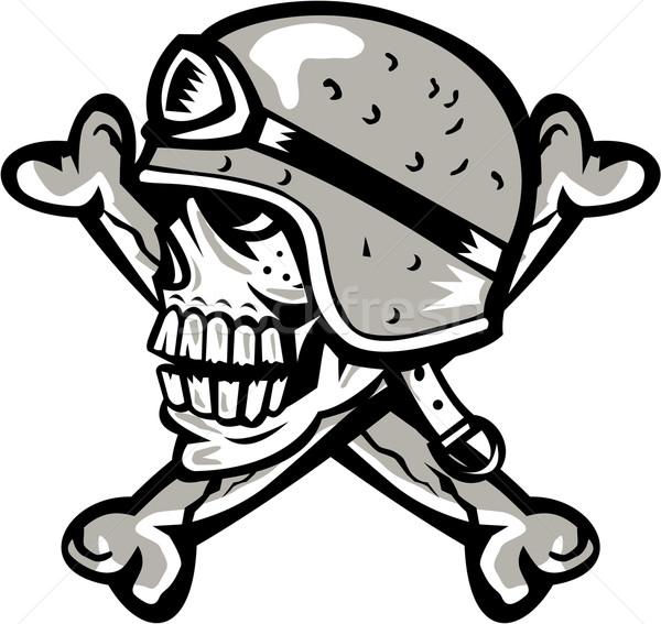 Skull Bones Bike Helmet Side Retro Stock photo © patrimonio
