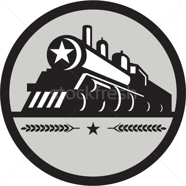 Stoom trein locomotief star cirkel retro Stockfoto © patrimonio