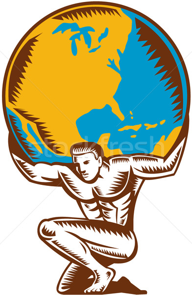 Atlas Lifting Globe Kneeling Woodcut Stock photo © patrimonio