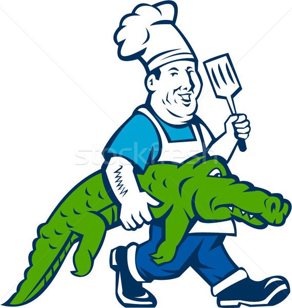 повар аллигатор ходьбе Cartoon иллюстрация Сток-фото © patrimonio