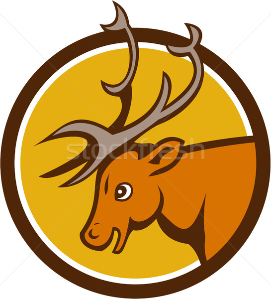 Stag Deer Buck Head Circle Cartoon Stock photo © patrimonio
