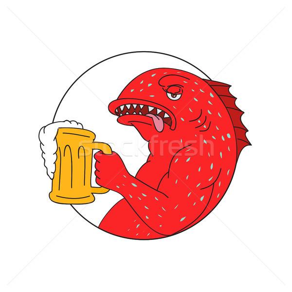Coral Trout Beer Mug Circle Drawing Stock photo © patrimonio