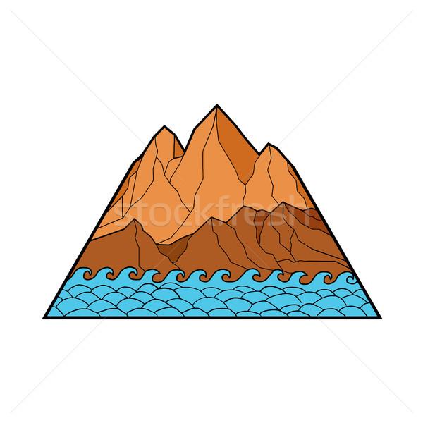 Stock photo: Ragged Mountain Waves Mono Line