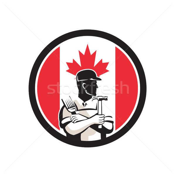 Stock photo: Canadian DIY Expert Canada Flag Icon