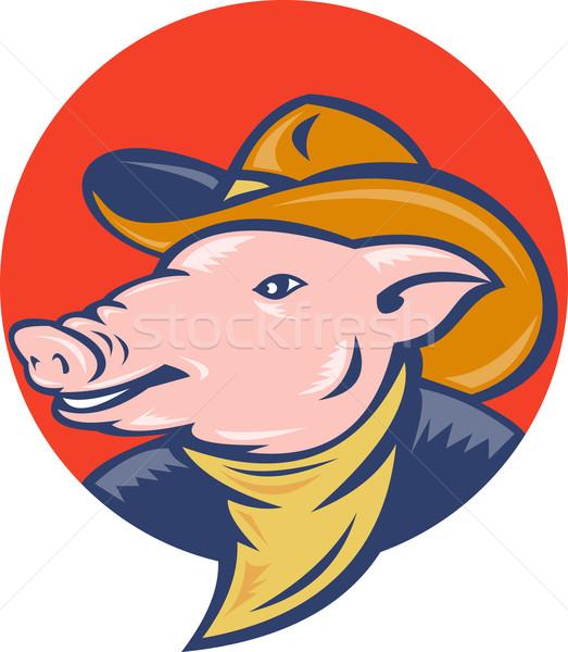 свинья ковбойской шляпе иллюстрация набор внутри Сток-фото © patrimonio