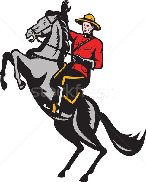 Canadian Mounted Police Mountie Riding Horse Stock photo © patrimonio
