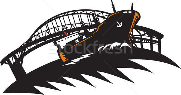 Freighter Cargo Container Ship With Bridge Stock photo © patrimonio