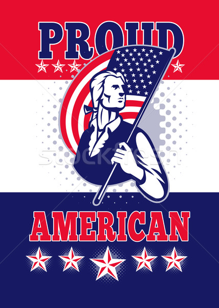 Amerykański patriota dzień plakat kartkę z życzeniami ilustracja Zdjęcia stock © patrimonio