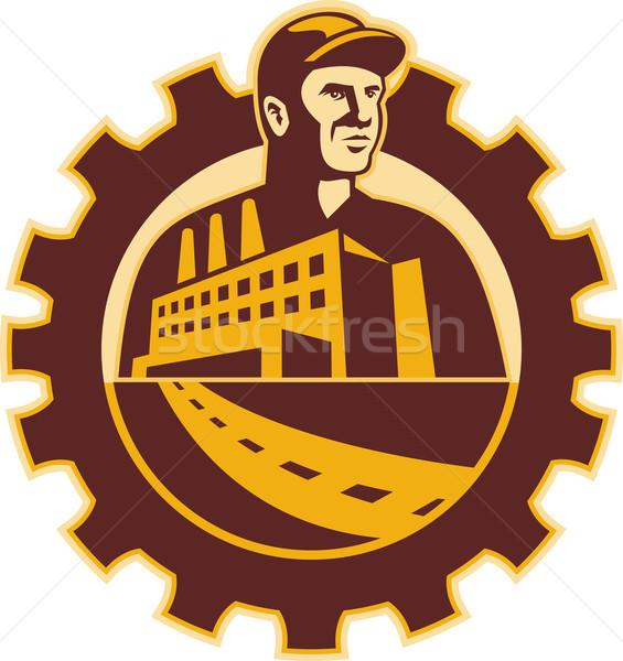 Stockfoto: Fabrieksarbeider · monteur · cog · gebouw · illustratie