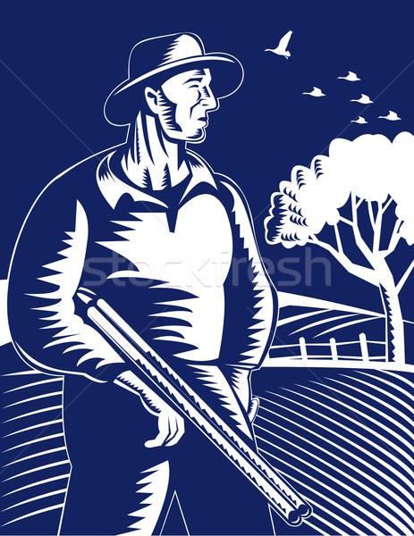 Landbouwer jager geweer illustratie pistool retro Stockfoto © patrimonio