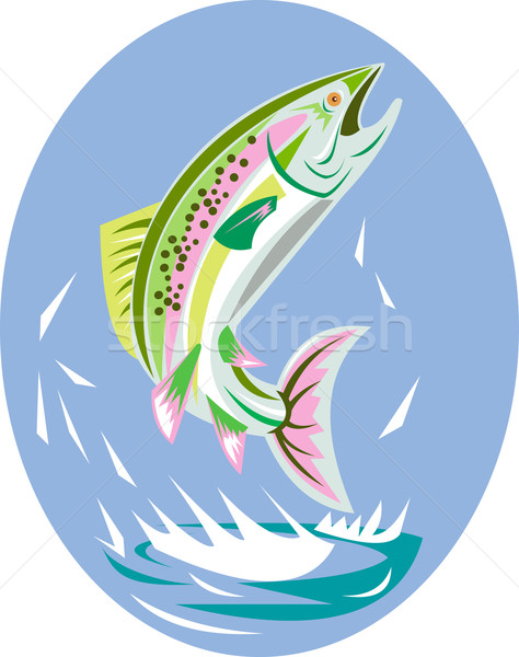 Trucha peces saltar ilustración estilo retro Foto stock © patrimonio