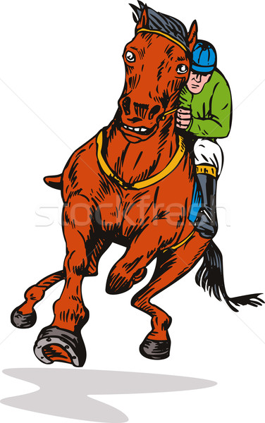 Horse and Jockey Racing Retro Stock photo © patrimonio