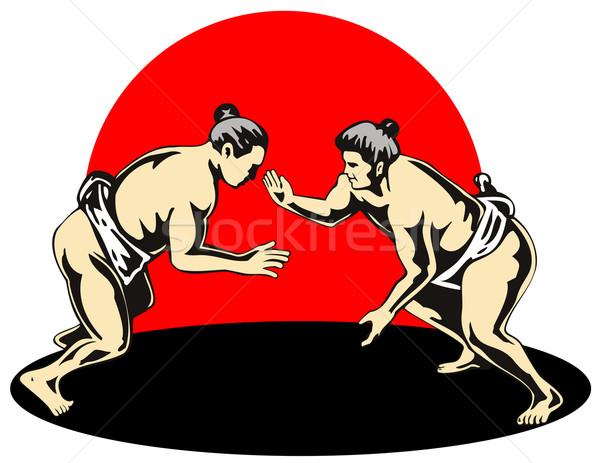 Japanese Sumo Wrestlers Fighting Stock photo © patrimonio