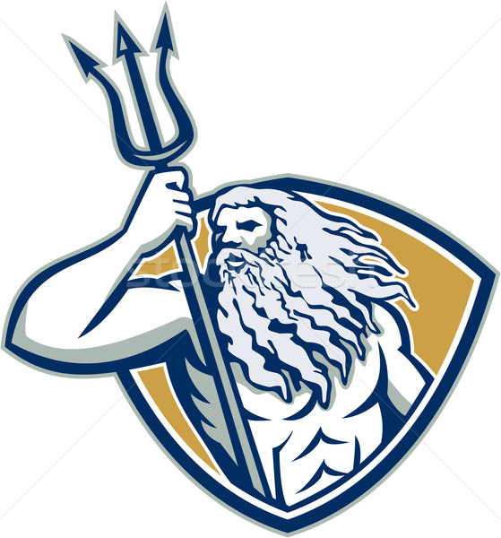 Neptune Poseidon Trident Shield Retro Stock photo © patrimonio