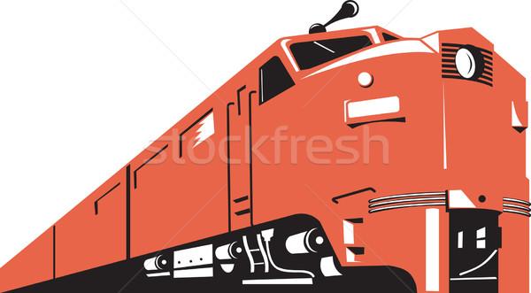 дизельный поезд ретро иллюстрация ретро-стиле Сток-фото © patrimonio