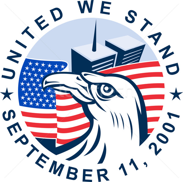 9/11 memorial american eagle flag twin towers Stock photo © patrimonio