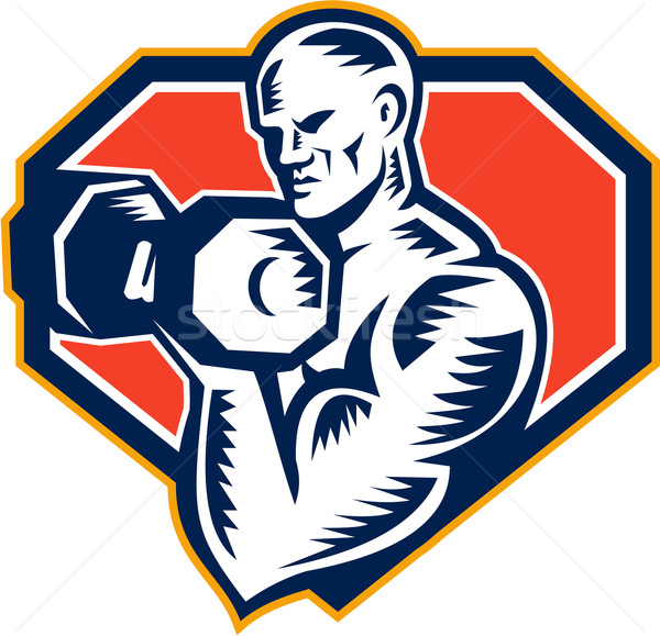 Strongman Lifting Dumbbell Retro Stock photo © patrimonio