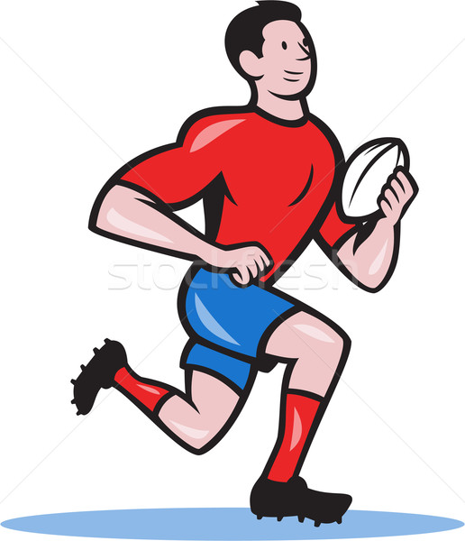 Rugby Player Running Ball Cartoon Stock photo © patrimonio