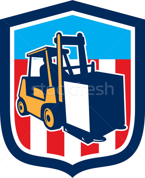 Forklift Truck Materials Logistics Shield Retro Stock photo © patrimonio