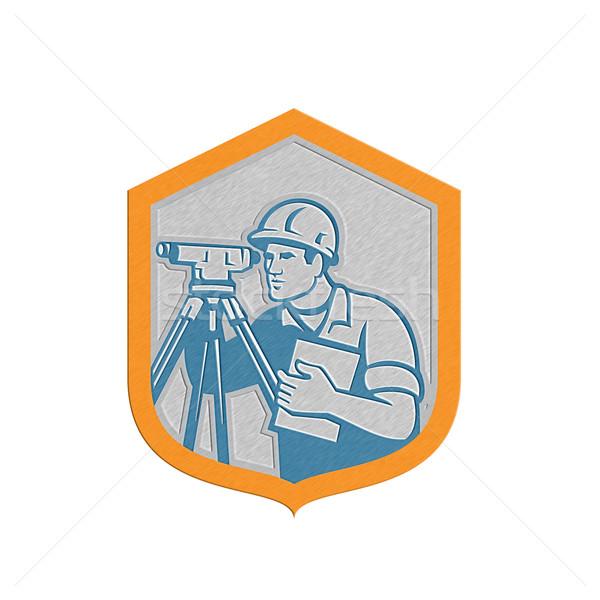 Metallic Surveyor Geodetic Engineer Survey Theodolite Shield Retro Stock photo © patrimonio