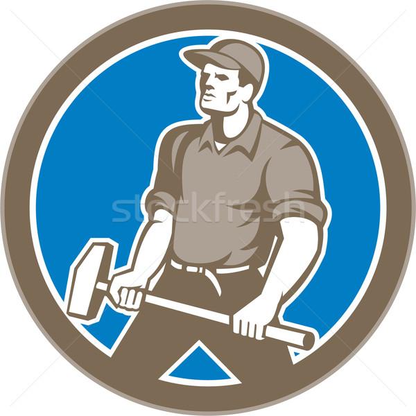 Union Worker With Sledgehammer Circle Retro Stock photo © patrimonio