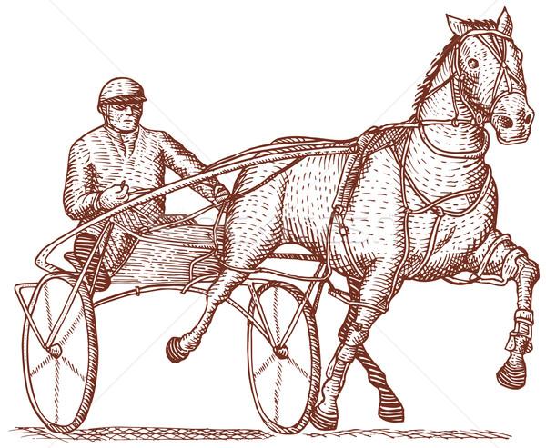 Harness racing engraving Stock photo © patrimonio