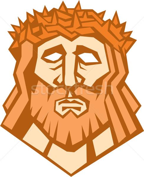 Gesù Cristo faccia corona retro illustrazione Foto d'archivio © patrimonio