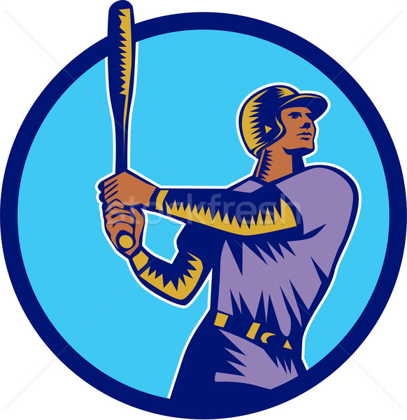 Baseball Batter Batting Bat Circle Woodcut Stock photo © patrimonio