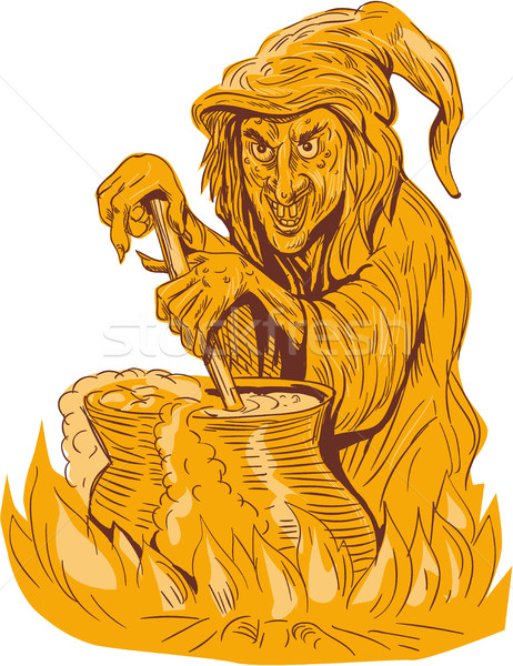 Witch Stirring Brew Pot Drawing Stock photo © patrimonio