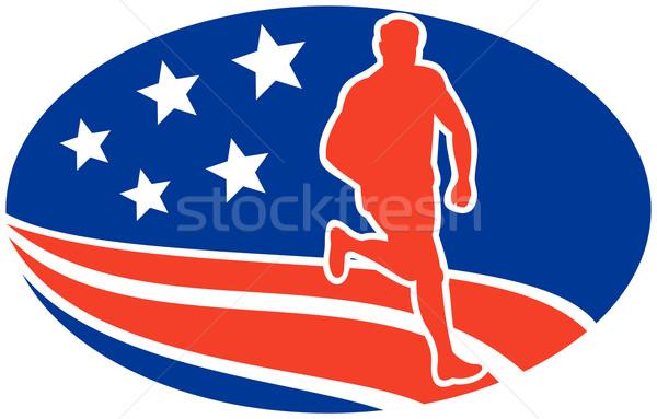 Amerikaanse marathon runner sterren illustratie Stockfoto © patrimonio