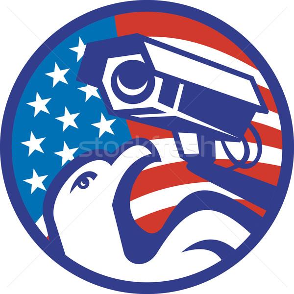 Amerykański łysy orzeł aparatu bezpieczeństwa ilustracja inwigilacja Zdjęcia stock © patrimonio